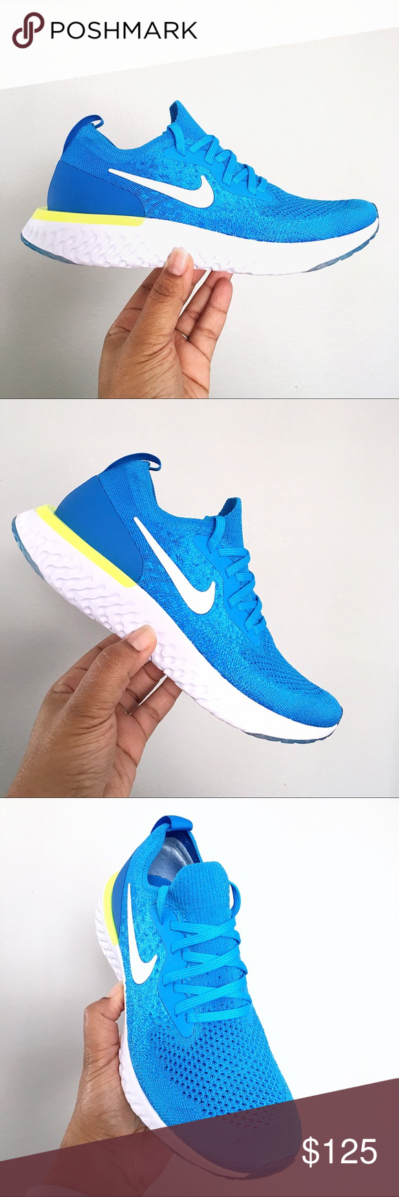 bb4b24057842 Nike Epic React Flyknit GS Brand New in Box   no lid - Nike Epic React  Flyknit - Color  Blue Glow White - Photo Blue - Rubber outsole - Mesh Upper  ...