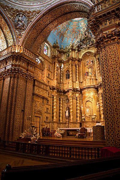 Beautiful Baroque cathedral, Quito, Peru