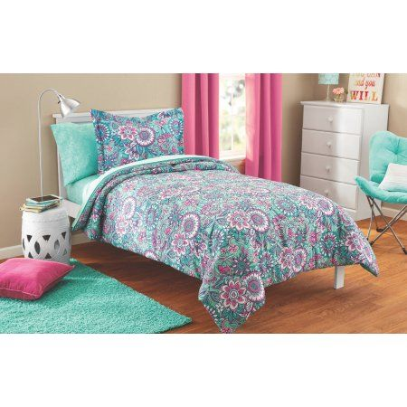 Mainstays Kids Floral Medallion Bed In A Bag Coordinating Bedding