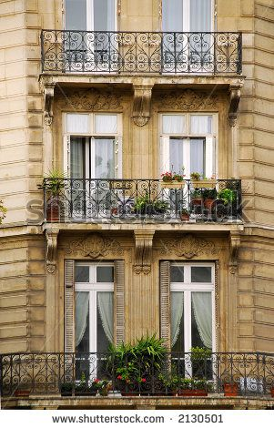 Old Homes In France And Balconies Of Apartment Buildings Paris Stock Photo