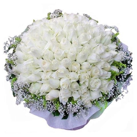 Pure White Roses Pure Love 99 White Roses Hand Bouquet Singapore Elegant Wedding Flowers Wedding Flowers White Roses White Wedding Flowers