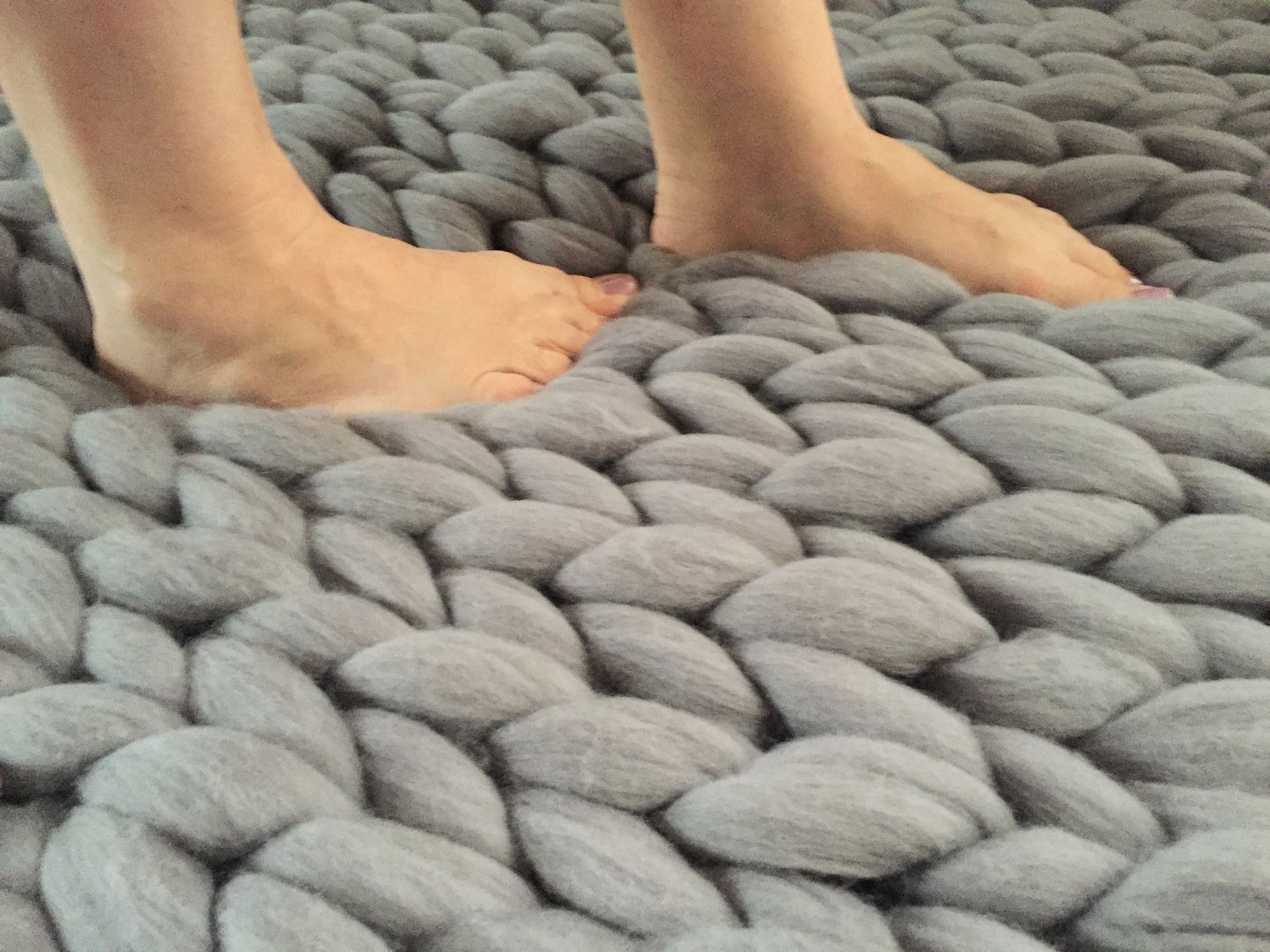 Chunky Merino Wool Rug Knitted Throws Knit Pillows