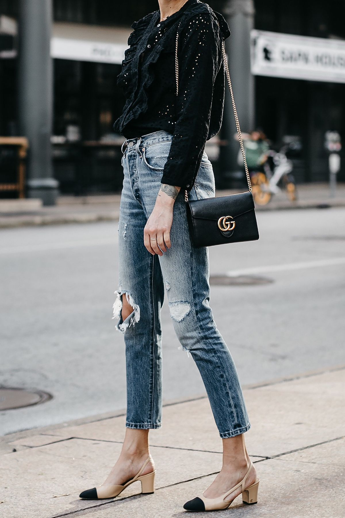19c0d27d Madewell Black Eyelet Blouse Denim Ripped Skinny Jeans Chanel Slingbacks  Gucci Marmont Handbag Fashion Jackson Dallas Blogger Fashion Blogger Street  Style