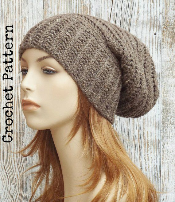 CROCHET HAT PATTERN Instant Pdf Download - Leighton Slouchy Beanie Beehive  Slouch Hat Womens Teen Fa 602c7abd775
