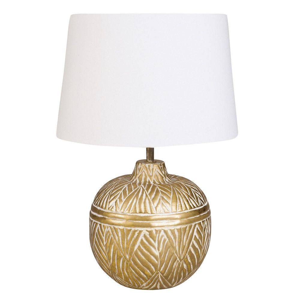 Gold Metal Ball Lamp with White Cotton Shade | Maisons du
