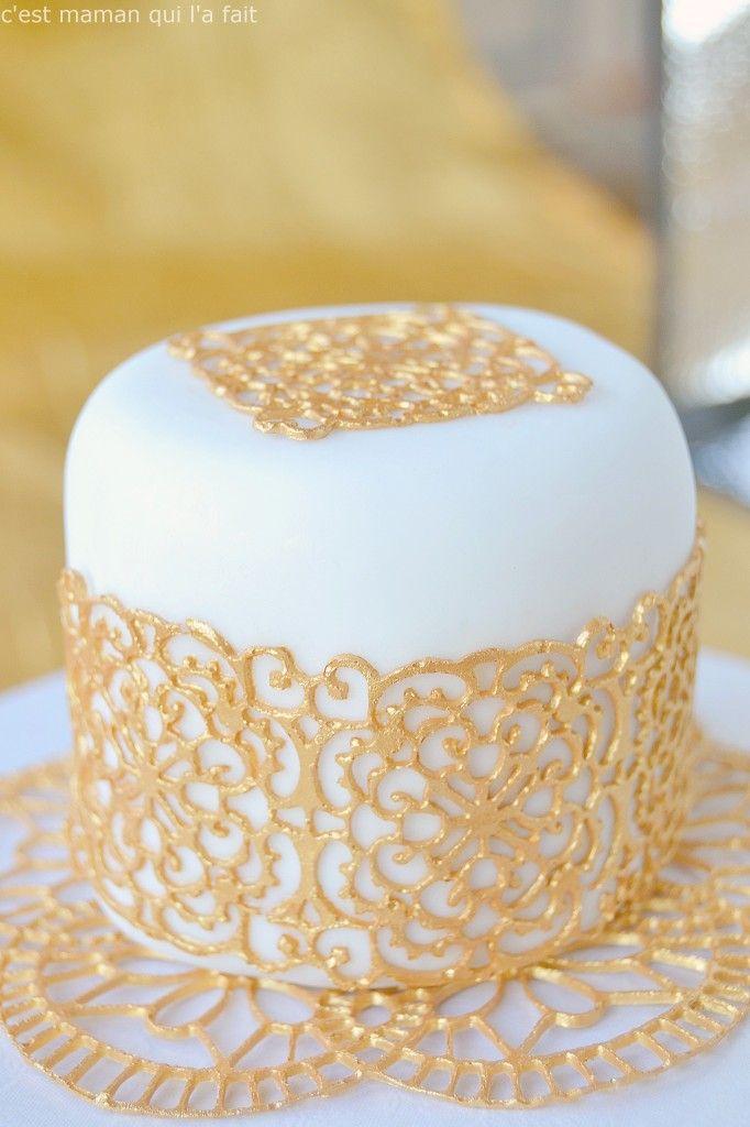 sucre dentelle comestible doré tutoriel | aides & bases culinaires