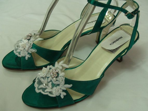 Wedding Emerald Green Shoes  Inches Heel With White Or Ivory Applique Ankle Strap Open Toebr
