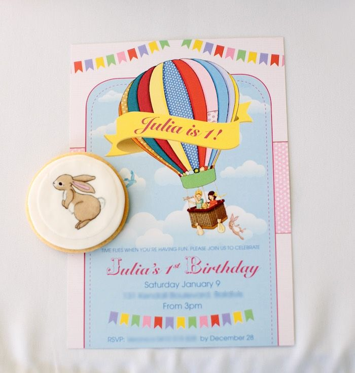 Invitation from a Belle Boo Bunny Hot Air Balloon Party via