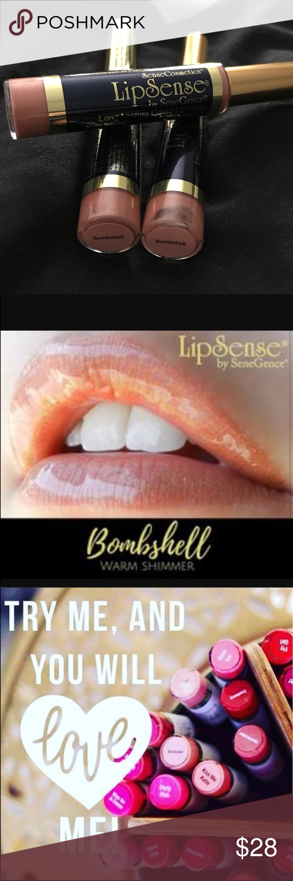 Bombshell LipSense Bombshell is a beautiful frost color. Lasts up to 18 hours. Smudgeproof. Kiss Proof!! Please fill out my Commitment form (https://goo.gl/forms/Y5E4knS0pJ8bnsNm2) before ordering to guarantee you grabbed your color of choice before someone else!!  let me know if you need any further information!!  💋If you're new to LipSense, please see my listing for the Starter Collection 💋 Makeup