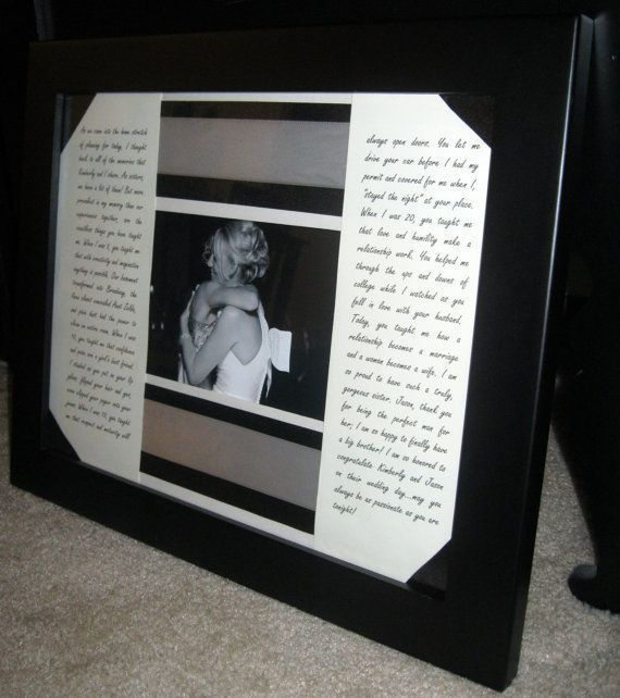 Maid Of Honor Speech Framed With A Picture. Love This