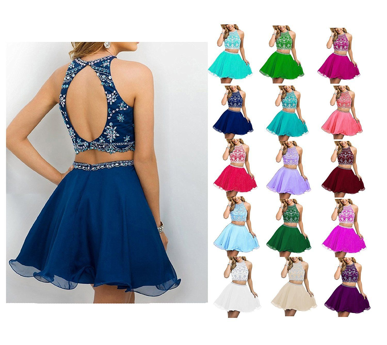 Fanciest womens beaded two pieces prom dresses short cocktail
