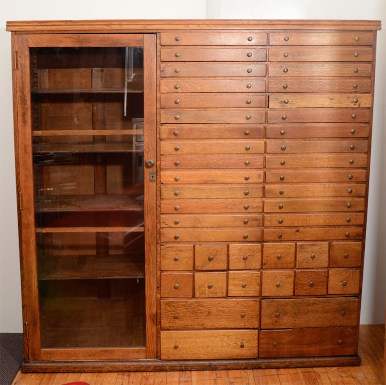 Vintage Elaborate Apothecary Cabinet with 44 Drawers | From a unique  collection of antique and modern - Elaborate Mission Apothecary Cabinet With 44 Drawers Apothecary