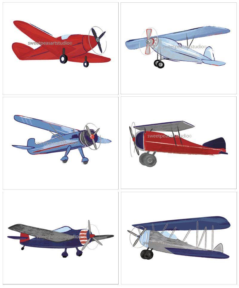 Airplane Vintage Aviator Bi Plane Blues By Sweetpeasartstudio2
