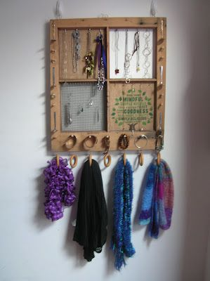 Window Frame Jewellery Organiser and the odd scarf or two