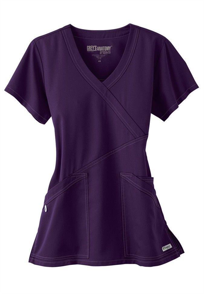 Greys Anatomy 3 pocket crisscross wrap scrub top. - Scrubs and Beyond