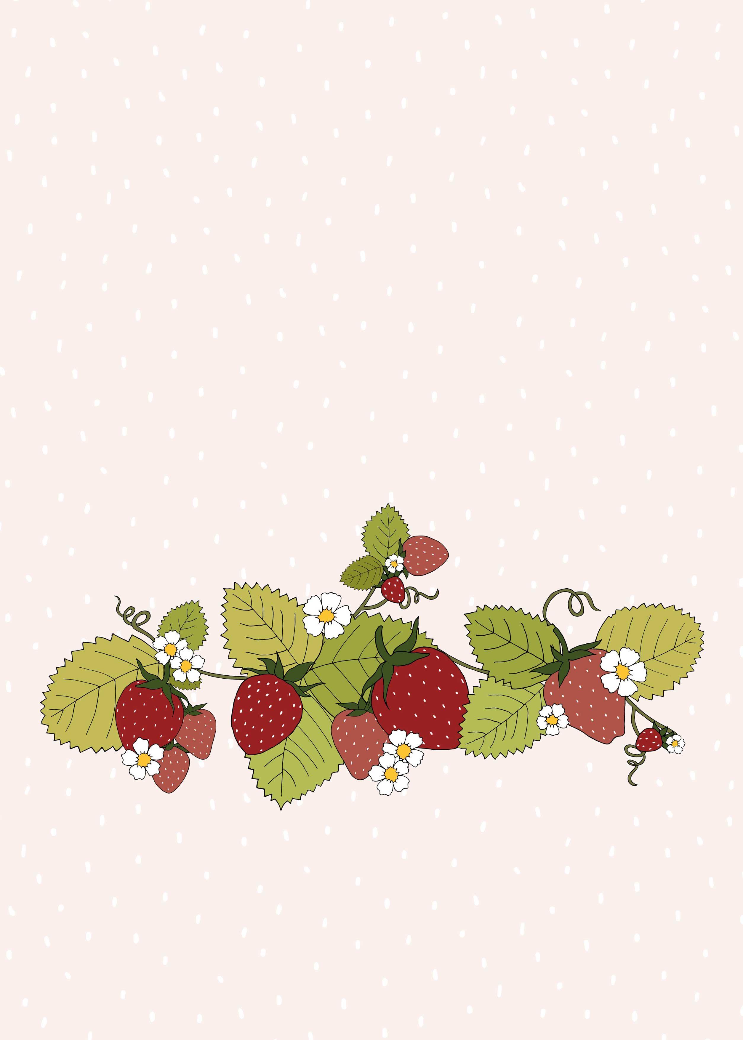 Strawberry patch desktop and iPad wallpaper Wallpaper