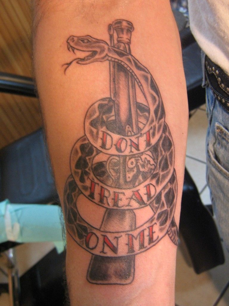 Don 39 t tread on me tattoo by david at california tattoos in for Tattoos for me