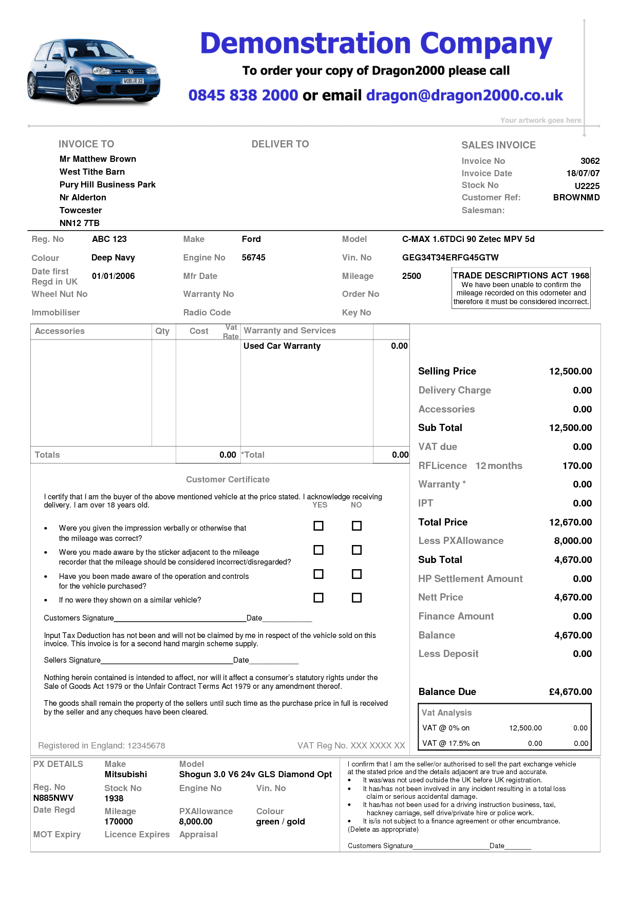Used Car Dealer Invoice Template And Car Sale Invoice