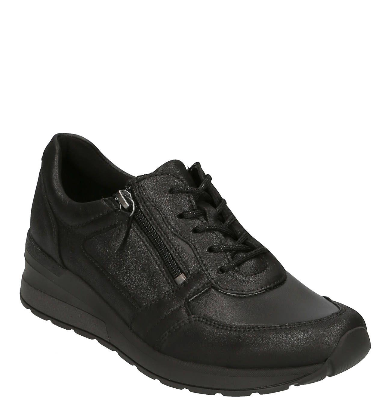 Sneaker, Leder, Reißverschluss, dezente Glitzer Details