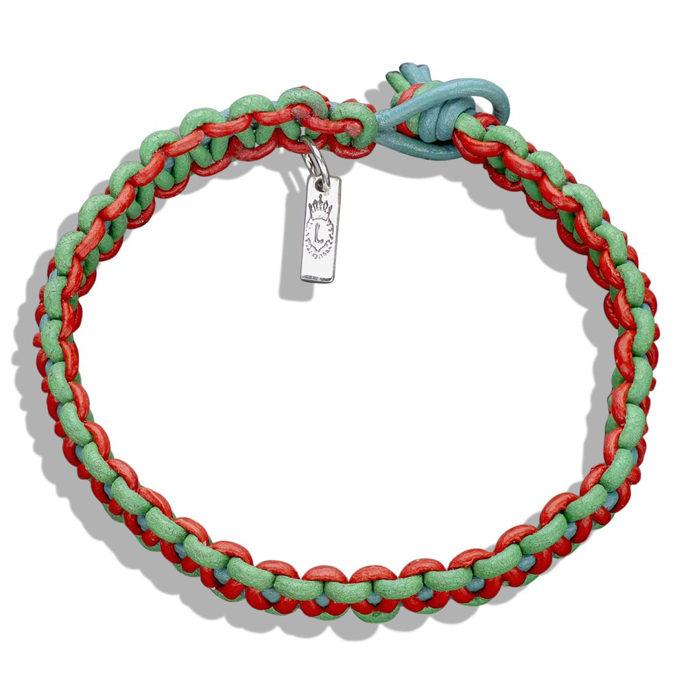 Green, Red, & Turquoise Braided Leather Bracelet