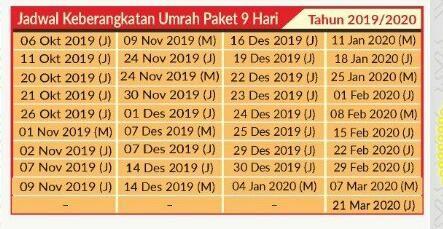 jadwal keberangkatan umroh 2019 2020