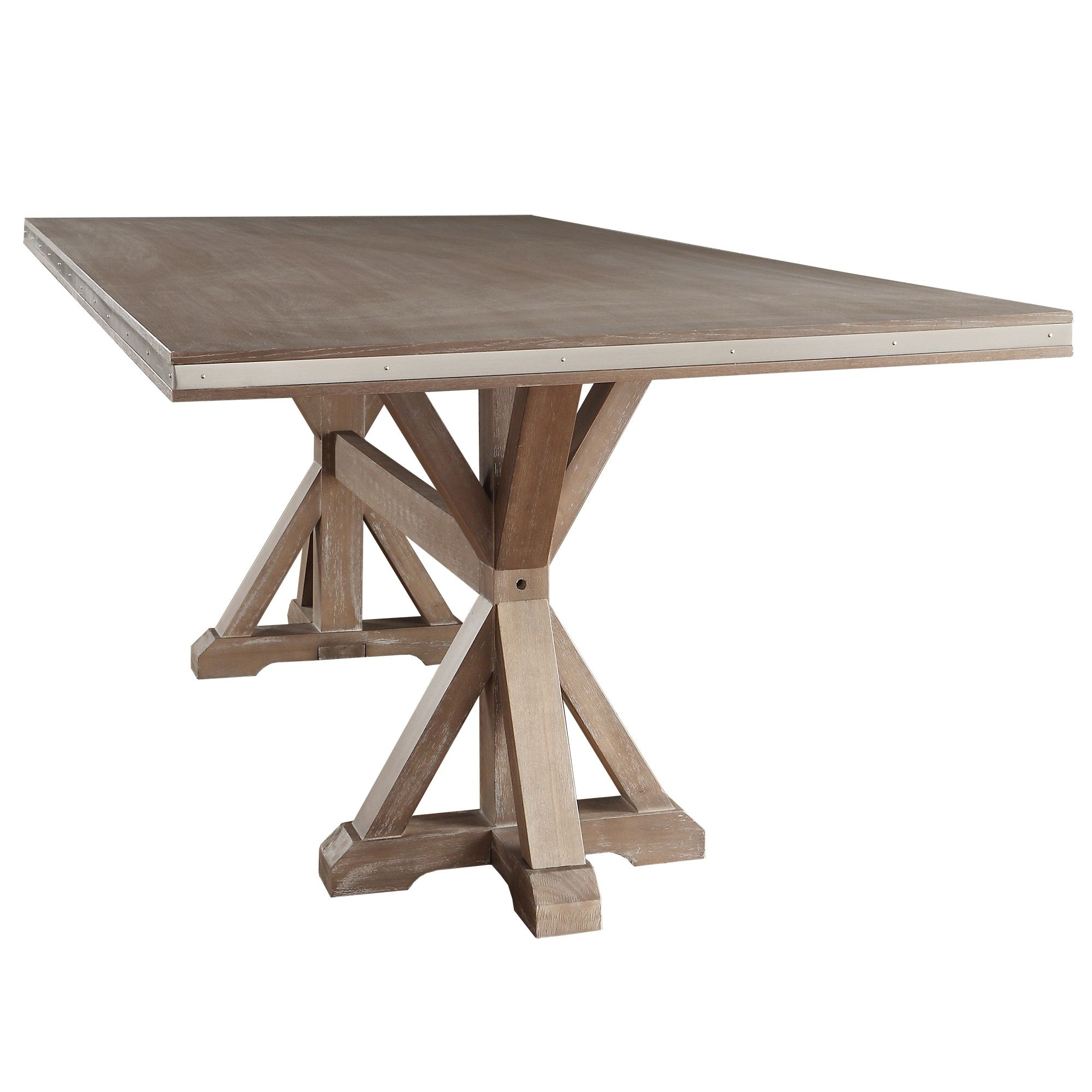 Abbott Rustic Stainless Steel Strap Oak Trestle Dining Table by iNSPIRE Q  Artisan by iNSPIRE Q