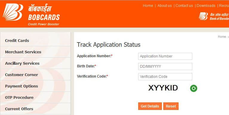 Bank of baroda credit card status how to track your