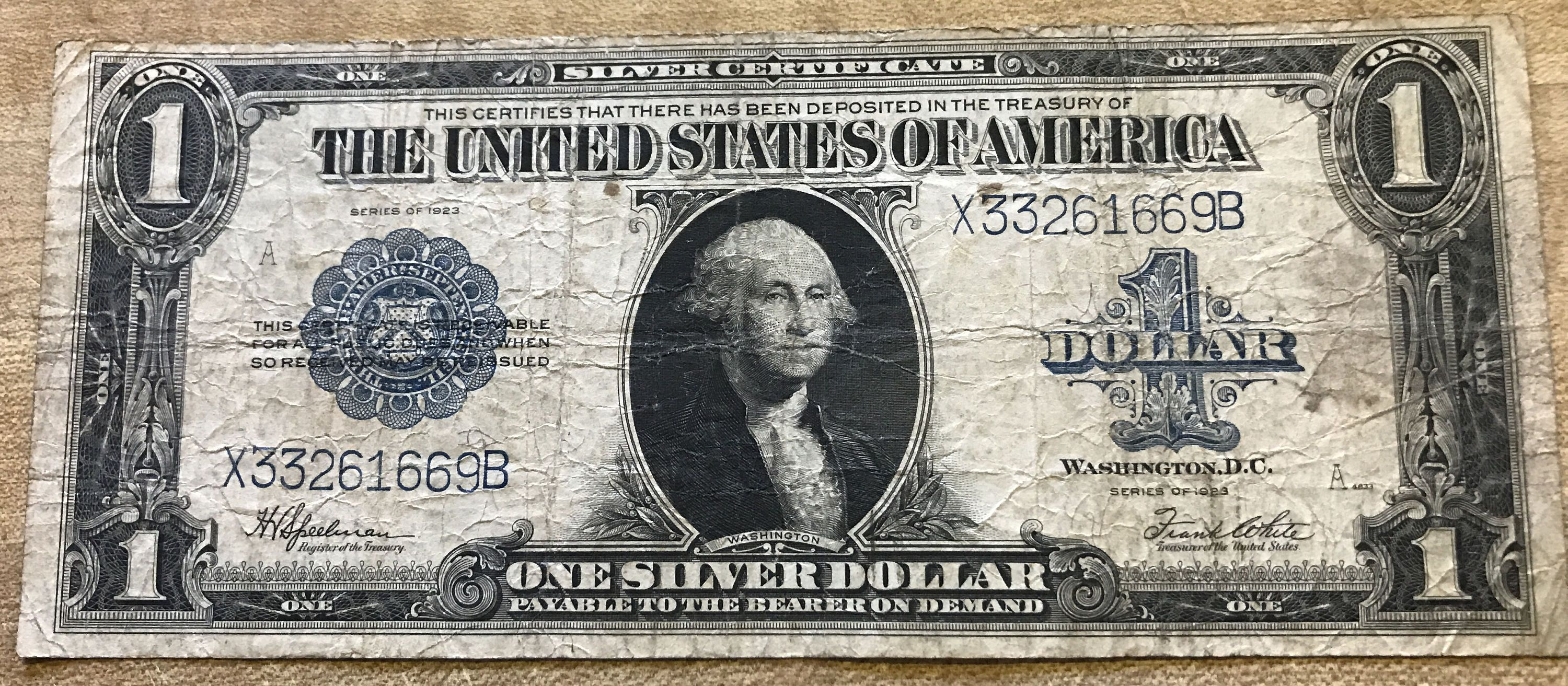 1923 United States Silver Certificate One Dollar Blue Seal Large