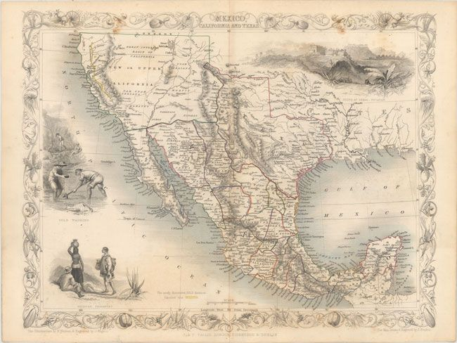 Mexico Map 1850.Mexico California And Texas John Tallis 1850 Maps Pinterest