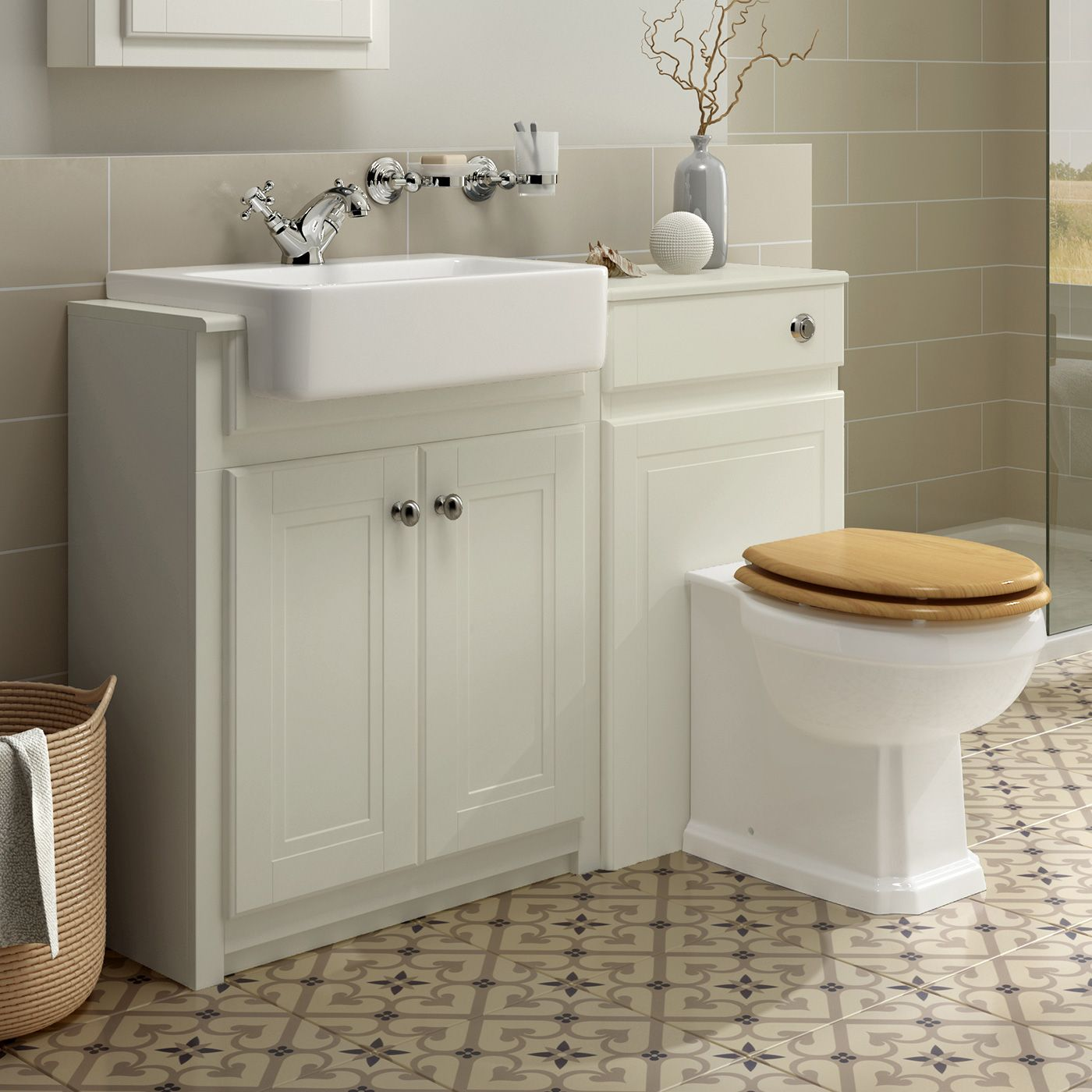 1167Mm Cambridge Clotted Cream Combined Vanity Unit  Victoria Ii