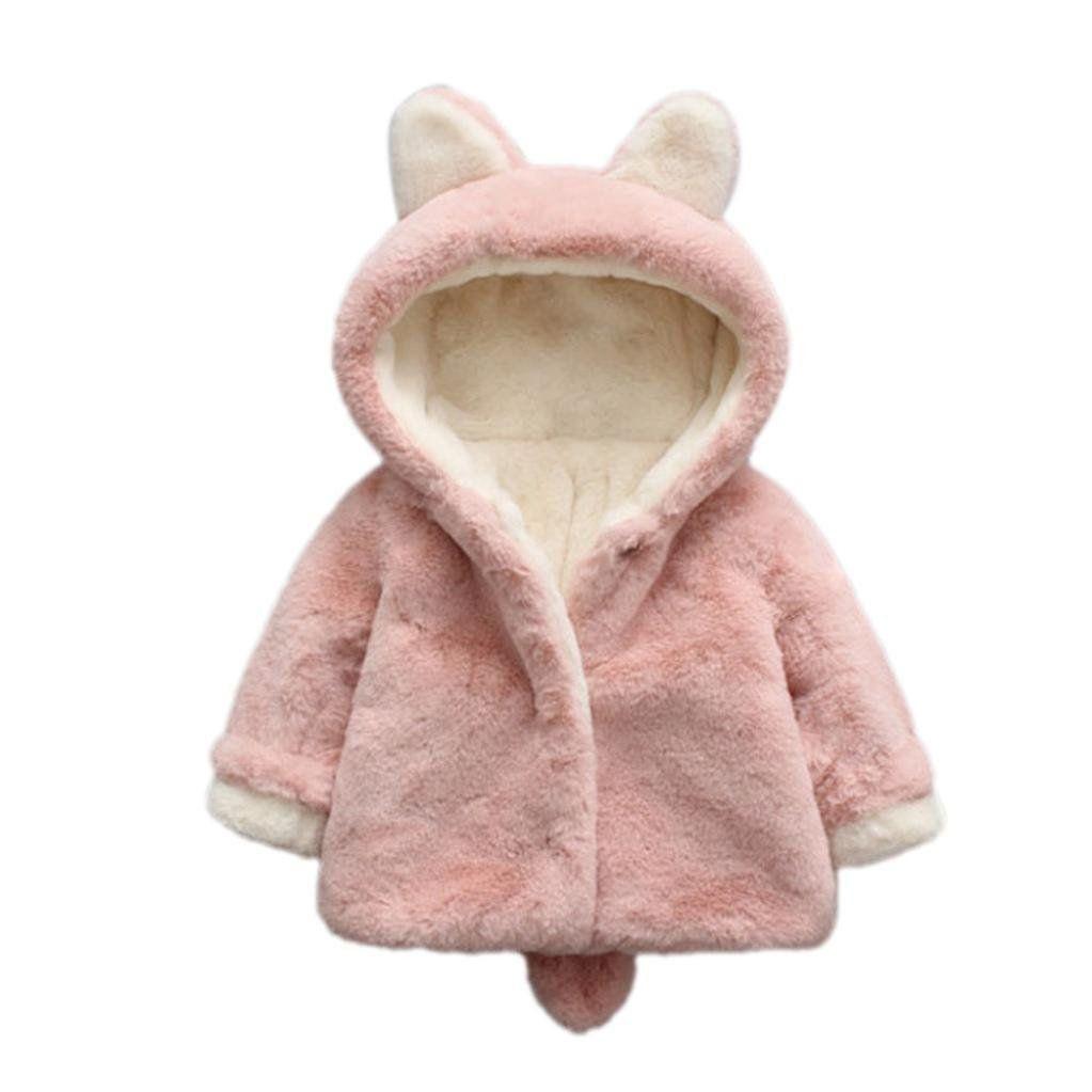 Baby Girl Winter Rabbit Warm Cloak Coat Toddler Fleece Fur Hoodies Jacket Thick Clothes