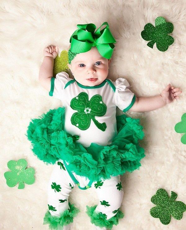 Baby Girls Shamrock Dress Toddler St Patricks Day Dress+Headband Outfits Clothes