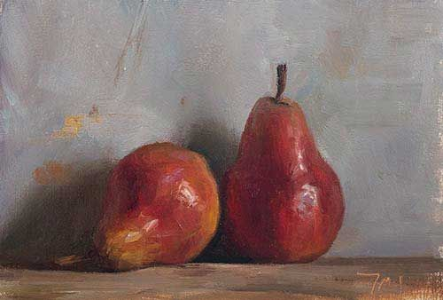 daily painting titled Two red pears - Julian Merrow-Smith, Postcard from Provence