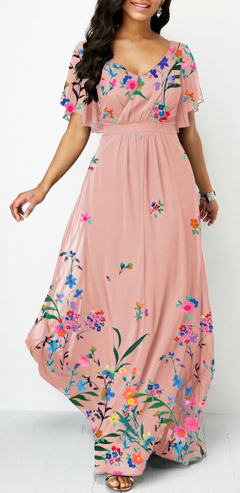 Floral Print High Waist V Neck Maxi Dress (affiliate ...
