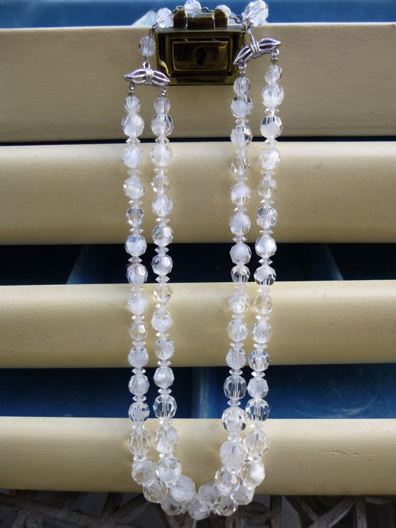 Vintage Necklace Crystal Beads 16 Necklace by My3LadiesJewelry, $100.00