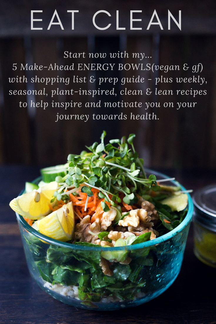 5 Make Ahead Energy Bowls for the workweek- vegan & Gluten-free! Shopping list and Prep guide. Make on Sunday, then enjoy during the week! So tasty! Yours FREE when you sign up at www.feastingathome.com!