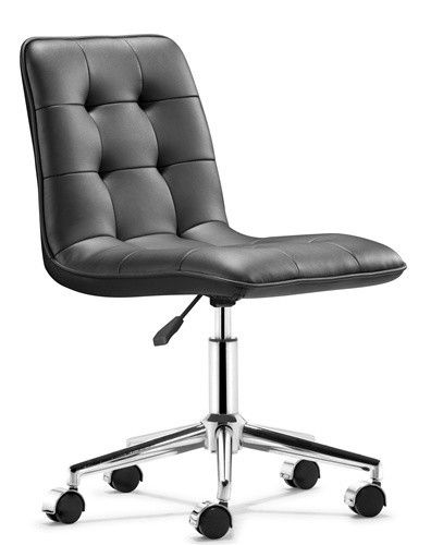 Sleek Buttoned Modern Chair In Black Or White Black Office