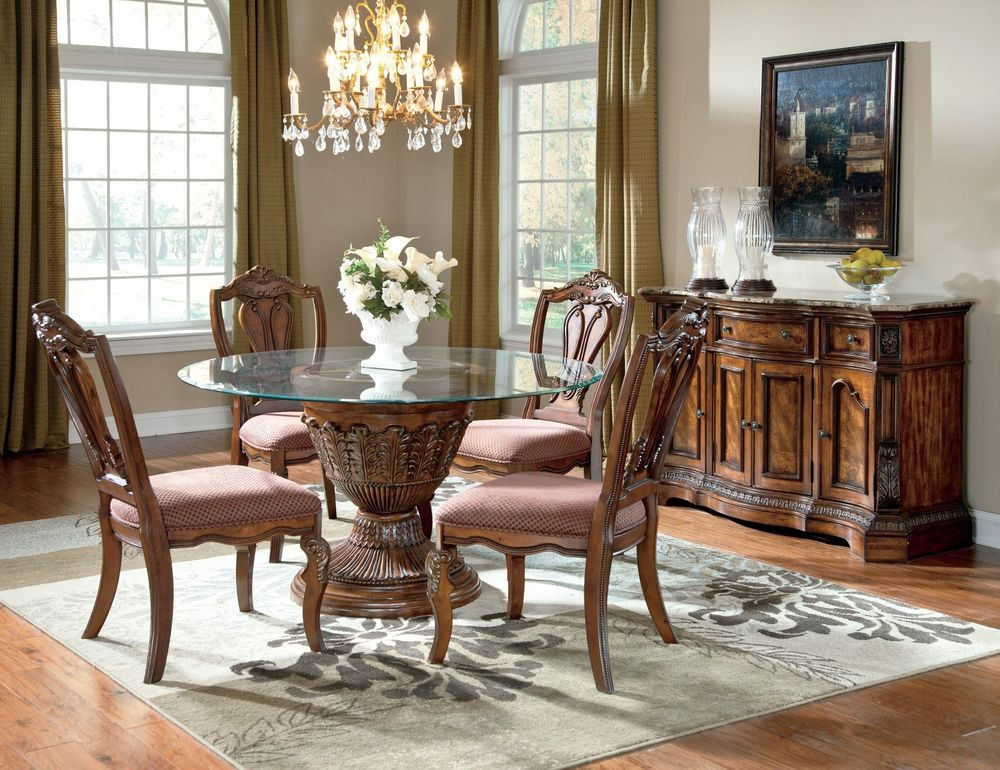 Ashley Ledelle Round Beveled Glass Dining Table W 4 Uph Chairs