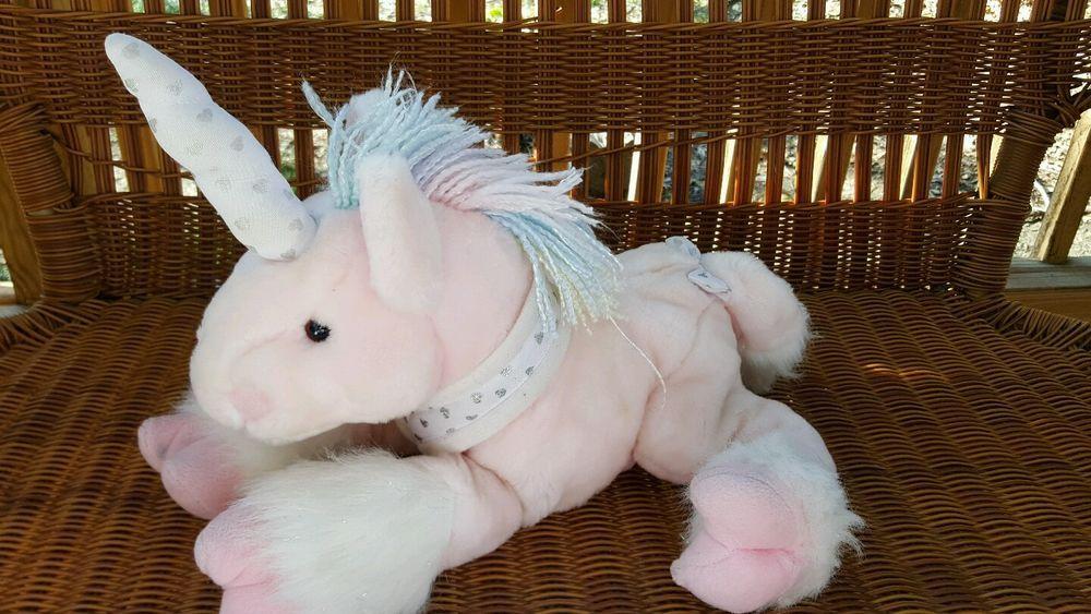 Toys R Us Animal Alley Unicorn Plush Animal Pink W Silver Hearts 12