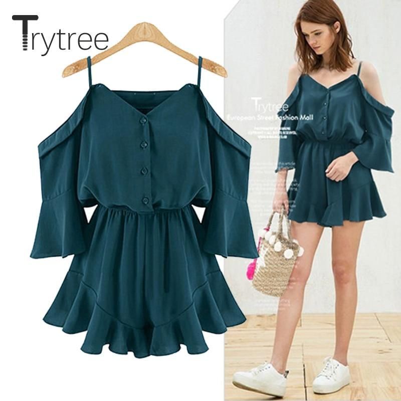 1bf0693e1e6d Trytrww Spring Summer Rompers Women Casual Playsuit solid tops Jumpsuit  Ladies Off Shoulder shorts Ruffles plus size Jumpsuits
