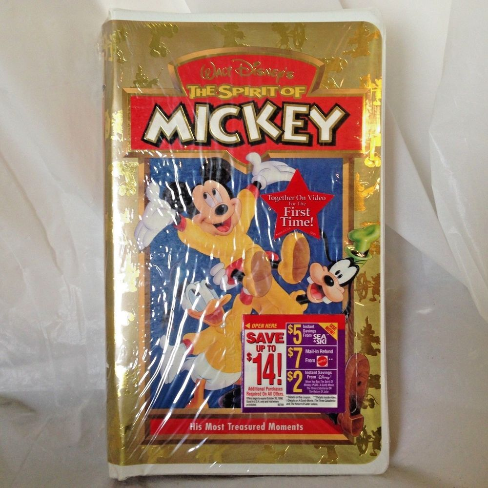 The Spirit of Mickey (VHS, 1998) Disney Steamboat Willie Cartoon included