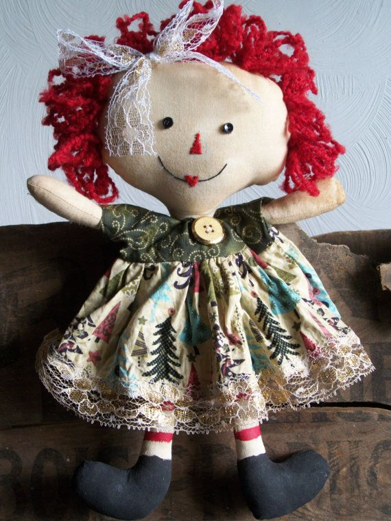 Primitive Christmas Raggedy Ann Doll | All Dolled Up Raggedy | Pinterest