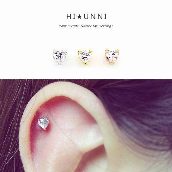 e8143b50ecfc5 16g Tall CZ Heart Ear Piercing Stud Barbell cartilage by HiUnni ...