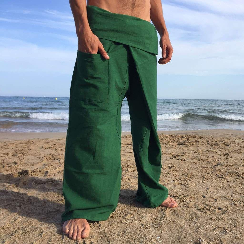 Pantalones Tailandeses de algodón color Verde   Pantalones ...