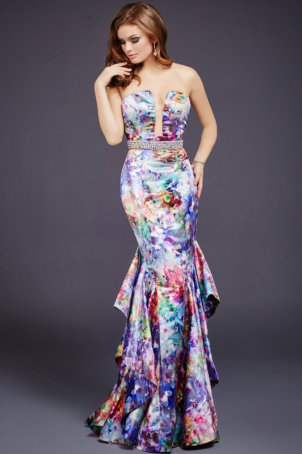Multicolored print fun in #Jovani 35312 | Jovani Evening 2016 ...