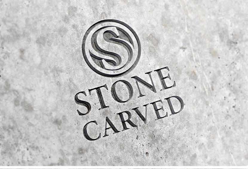 대리석에 음각 로고 목업 Carved Stone Logo Mockup PSD 로고