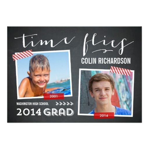 Time Flies Graduation Invitation - Red