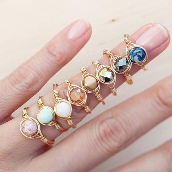 Photo of Dainty Stacking Rings Einfache Gold Tone Rings Edelstein