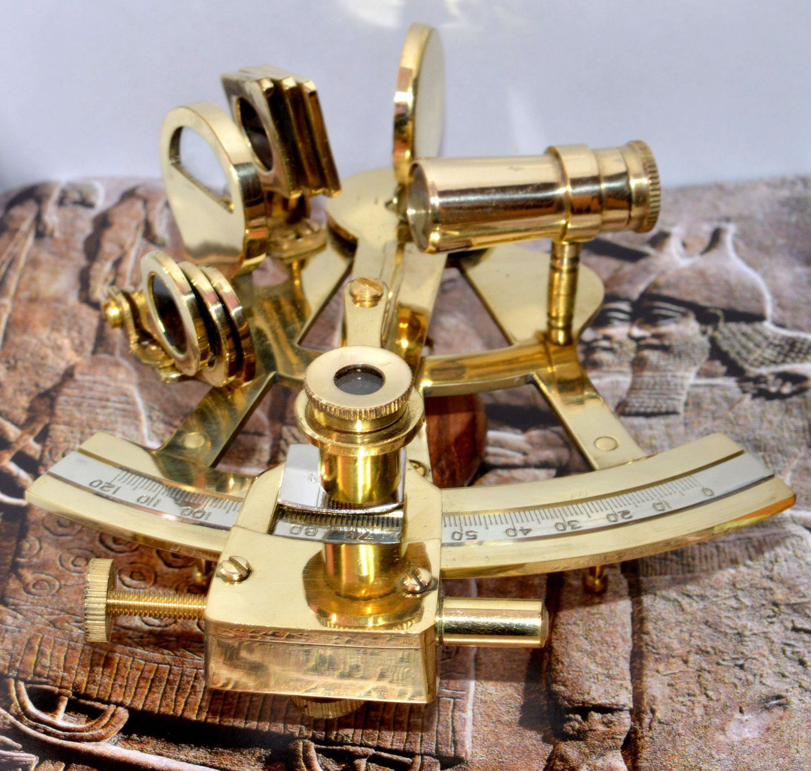 Antique Style Brass Sextant Vintage Maritime Collectible Gift