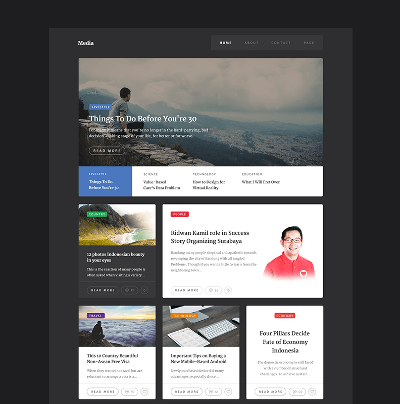 Blog Website Templates Media Free Website Template #blog #flat #free #grid #layout